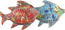Fisch Windlicht Laterne Gartendeko Figur Dekofigur Metall 222157 (Rot)