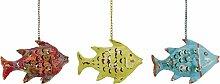 Fisch Windlicht Laterne Gartendeko Figur Dekofigur Metall 224029 (Gelb)