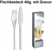 Fischbesteck-Set mit Gravur 4tlg. ** Marke: