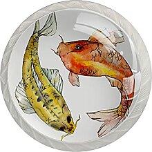 Fische(1) 4 Stück Schranktürgriffe, Rundgriffe,