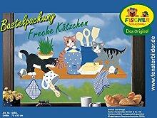 Fischer Fensterbild FRECHE KÄTZCHEN / Bastelpackung / komplett / 75 x 53 cm / zum Selberbasteln / eine originelle Geschenkidee
