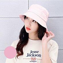 Fischer Hut Weiblich literarisch Freizeit Wild Street Hut Schatten Sonnenschutz Sonnenhut Weiblich Japanisch (Farbe : Pink)