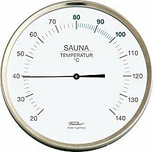 Fischer Sauna Thermometer, Edelstahl, 130x 130mm