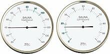 Fischer Sauna Thermometer + Hygrometer im Set, Edelstahl (160 mm)