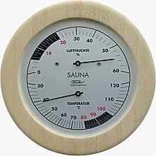 Fischer Sauna Thermometer und Hygrometer im Holzgehäuse Erzgebirge