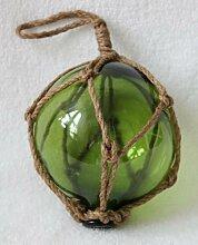 Fischerkugel aus Glas 13cm Ø Hanftampen (Grün)