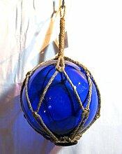 Fischerkugel Fischernetz Deko 13cm Ø Blau Glas Hanftampen