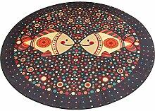 Fischmuster waschbarer runder Teppich, rutschfester Türbodenmatte