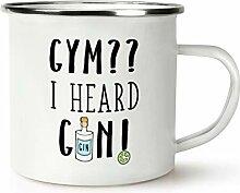 Fitnessstudio ? I Heard Gin ! Retro Emaille Becher