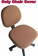 fittoway Elastischer Universal-Computerschreibtischstuhl-Bezug, drehbar, einfarbiger Stuhl-Bezug braun