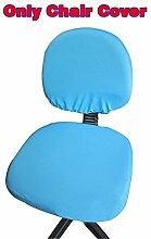 fittoway Elastischer Universal-Computerschreibtischstuhl-Bezug, drehbar, einfarbiger Stuhl-Bezug seeblau