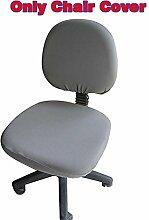fittoway Elastischer Universal-Computerschreibtischstuhl-Bezug, drehbar, einfarbiger Stuhl-Bezug grau