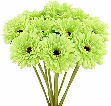 FiveSeasonStuff 10 Stiele aus Künstliche Seide Gerbera Blumen & Blumenstrauß, für Haus Geschäft Büro Restaurant Hochzeit Dekoration/DIY Blumenschmuck, 32cm/12.6 inches (Grün)