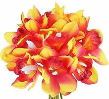 FiveSeasonStuff 12 Vorbauten von Echte Berührung Künstlichen Cymbidium / Boot Orchidee Blumen und Bouquet, für Home Shop Hochzeit Büro Party Restaurant Dekor / DIY Blumenschmuck Dekorationen - 23cm (9.1 inches), Sonnenuntergang Ro