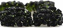 FiveSeasonStuff® 144 Stück Papier Rose Blumen künstliche Blumen, perfekt für Hochzeit Gunst Boxen, Party, Haus & Garten Dekor, Kunsthandwerk, DIY (Schwarz)