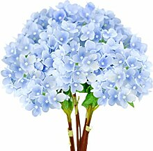 FiveSeasonStuff® 15 Stück 32cm Mini Künstliche Hortensie Blumen, Blumenstrauß, Blumenarrangement, Perfekt für Hochzeit, Braut, Party, Home, Shop, Büro Dekor, DIY Floral Arrangement Dekoration (Blau)