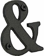 """FiveSeasonStuff Vintage dekorative Gusseisen Symbole mit Befestigungsschrauben, schwarze dekorative Symbole, Heavy Duty Metall Symbole, Hängende Wand Symbole, Wand Kunst Dekorative Symbole, Wand / Tür / Haus Zeichen, Adresse / Zeichen Symbole (""""&"""")"""