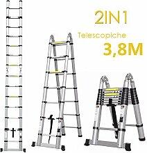 FIXKIT 3,8M Alu Teleskopleiter Klappleiter