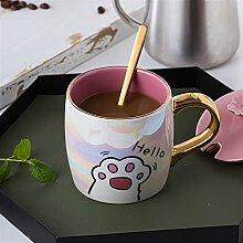 FJDISQ Cartoon Milk Becher Keramik Katzenpflock
