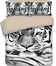 FJLOVE Bettwäsche Set Weißer Wildheits-Tiger mit
