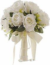 FJROnline Brautstrauß Hochzeit mit Blumen Weiß