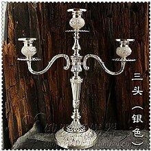 Fkduih Drei Kopf 5 Kopf ornament Leuchter Schmuck romantisches Candlelight-Dinner Tabelle Trauung im Europäischen Stil retro Metall Kerze Taiwan, C
