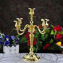 Fkduih Drei Kopf Kopf Metall Legierung Silber fünf Leuchter europäische Hochzeit Hochzeit Hotel KTV Home Decoration, fünf Köpfe von Gold