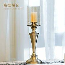 Fkduih Europäische Einrichtung luxus Metall Glas Tisch retro Leuchter schmuck American Esszimmer weich Dekoration, B