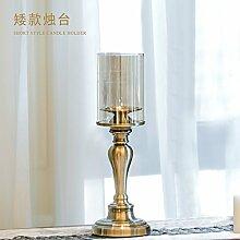 Fkduih Europäische Einrichtung luxus Metall Glas Tisch retro Leuchter schmuck American Esszimmer weich Dekoration, eine
