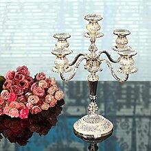 Fkduih Europäische romantischer Kerzenleuchter, versilbert, vergoldet weiß, fünf Leuchter, Hochzeit drei Silber Zinn Leuchter, B
