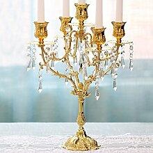 Fkduih Fünf Kristall Leuchter Europäischen romantisches Candlelight Dinner Table retro kreative Hochzeit Requisiten eisernen Ornamenten, EIN