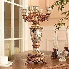 Fkduih Fünf Leiter der Europäischen klassischen Harz Leuchter Leuchter Heimtextilien retro Tischornamenten Hochzeit Dekoration