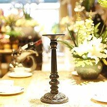 Fkduih Harz Kerzenhalter Ornamente restaurant Schlafzimmer Badezimmer europäische klassische romantische schwarze Leuchter Hochzeit Geschenk, B