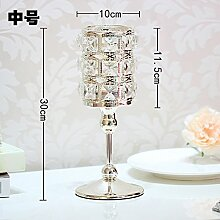 Fkduih Hochwertige Kristall Leuchter Leuchter Ornamente der Europäischen romantischen Abendessen Abendessen Tischdekoration Vorlage Requisiten, Medium, bitte