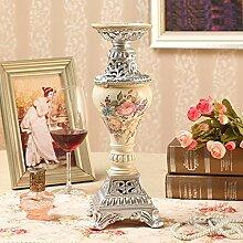 Fkduih Jahrgang Möbel Dekoration Hochzeit Kerze Leuchter Europäischen romantisches Candlelight-Dinner Requisiten hotel Dekoration Harz 5, B Silber