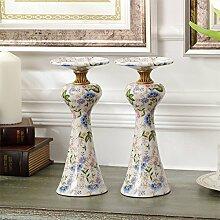 Fkduih Luxus europäische Keramik mit amerikanischen klassischen Kupfer Kupfer Leuchter Leuchter Ornamente Home Ausstattung Hochwertige Wohnzimmer Einrichtung, ein Paar Kerzenleuchter
