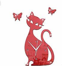 FKUO DIY Spiegel hängende Glocke Schlafzimmer Wohnzimmer stummen Wanduhr niedlichen schwarzen Katze Wandaufkleber Glocke Heimtextilien (rot)