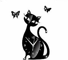 FKUO DIY Spiegel hängende Glocke Schlafzimmer Wohnzimmer stummen Wanduhr niedlichen schwarzen Katze Wandaufkleber Glocke Heimtextilien (schwarz)