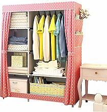 FKUO Einfacher Schrank-nichtgewebtes Stahlrohrrahmenverstärkung, die Speicher-Organisator-abnehmbare Kleidung-Schrank-Schlafzimmermöbel steht (Vorhänge-Rosa, 105x45x170cm)