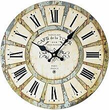 FKUO Home Decoration Analog Clock 35cm Nostalgic Roman Digital Massivholz Mute Wanduhr