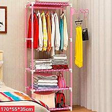 FKUO Kleiderständer Edelstahl Vliesstoffe Einfache Montage kann entfernt werden Schlafzimmer Hängende Lagerung Kleiderbügel Kleiderschrank (Rosa, 55*35*170cm)