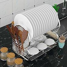 Flabor Abtropfgestell 2 Etagen Edelstahl Küchen Geschirrablage Abtropfbrett Abtropfständer Abtropfgitter für Teller und Besteck, 44 x 25 x 38cm (L x B x H), Silber