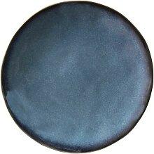 Flacher Teller aus Keramik blau