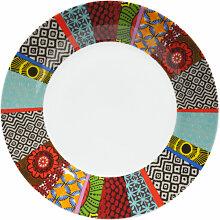 Flacher Teller aus Porzellan, grafischen Motiven