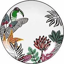 Flacher Teller aus weißem Porzellan, bedruckt mit