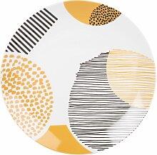 Flacher Teller aus weißem Porzellan, dreifarbig