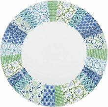 Flacher Teller aus weißem Porzellan mit