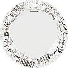 Flacher Teller aus weißem Porzellan