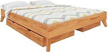 Flaches Bett aus Kernbuche Massivholz Kopfteil