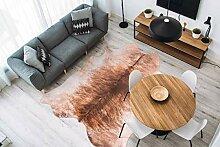 Flachflor Kunstfell Teppich Schwarz Weiß Leder